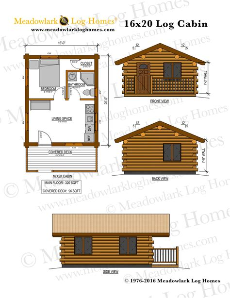 One Story Log Cabin Floor Plans by 16x20 Log Cabin Meadowlark Log Homes