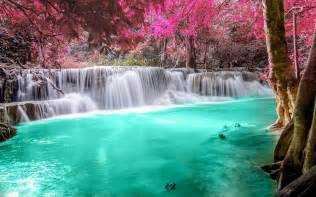 colorful waterfalls waterfall forest colorful nature thailand trees