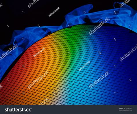 what color is silicon detail silicon chip wafer reflecting different stock photo