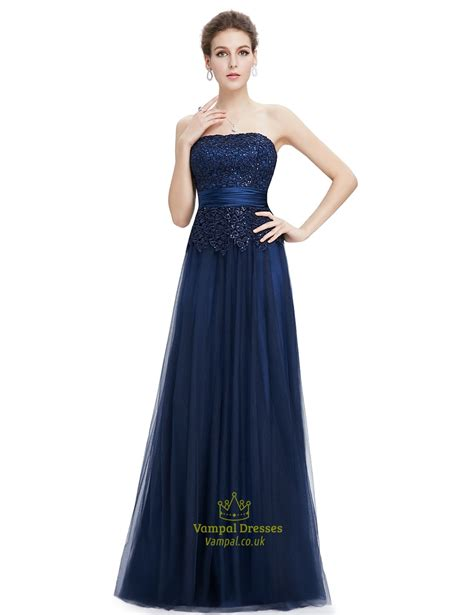 navy beaded evening dress navy blue tulle prom dress with beaded lace applique