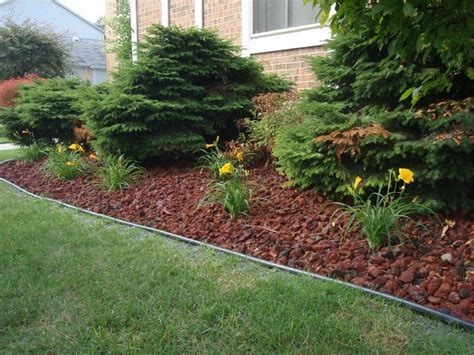 lava rock landscaping goodbye mulch home ideas