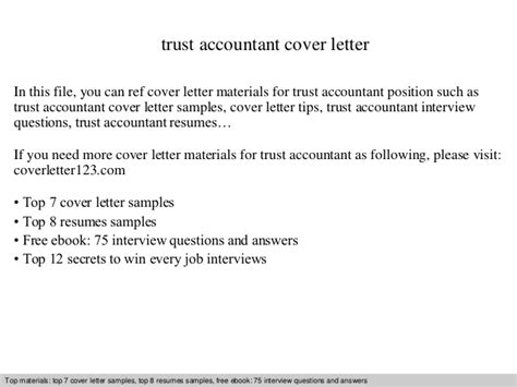 Trust Accountant Cover Letter trust accountant cover letter