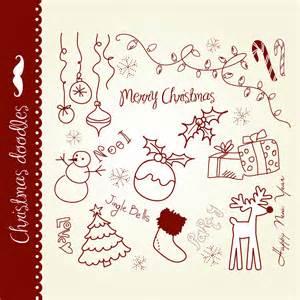 christmas doodles clip art hand drawn elements digital