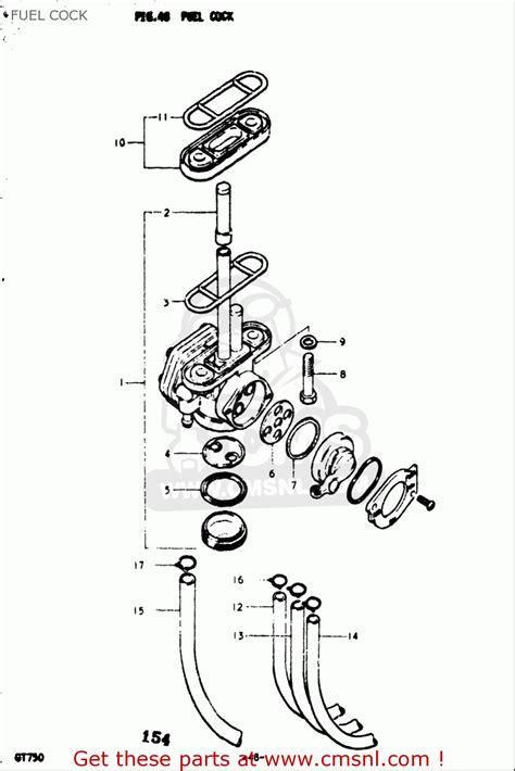 Suzuki Gt750 Parts List Suzuki Gt750 1973 1977 Usa Fuel Schematic Partsfiche