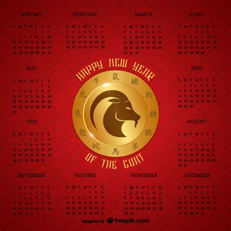 Anno 0 Calendario Cinese Anno Cinese Calendario Capra Scaricare Vettori Gratis