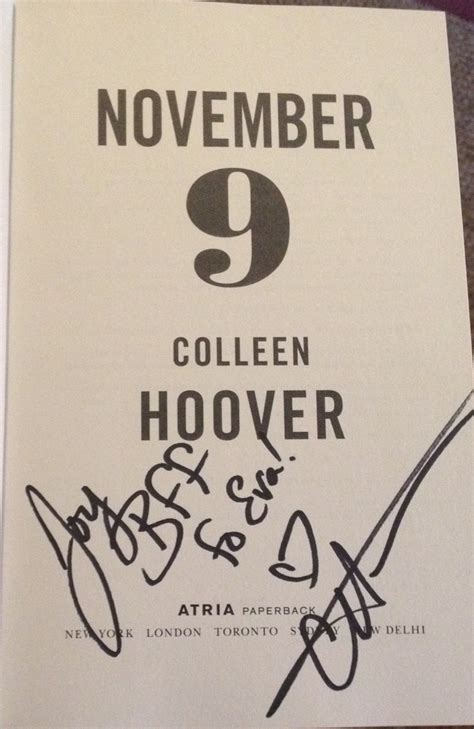 November 9 By Colleen Hoover signing november 9 by colleen hoover november 9 2015 bestie book