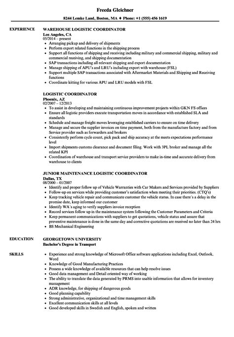 Logistics Coordinator Resume by Logistic Coordinator Resume Sles Velvet