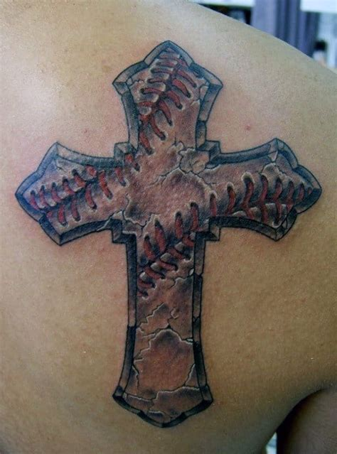 baseball cross tattoo designs  men religious ink ideas