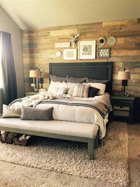 bedroom ideas on pinterest headboard ideas plank stained shiplap wall in bedroom diy projects pinterest