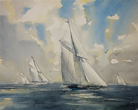 sailing boat watercolour art of watercolor how to paint a seascape and a sailing boat