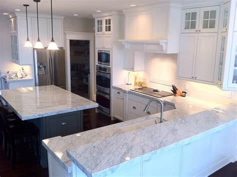 The Granite Gurus Carrara Marble Kitchen From Mgs By Design Marble Kitchen Countertops
