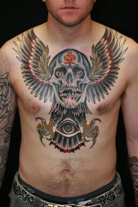 chest piece tattoo ideas for men winged skull chest tattoomodels chest