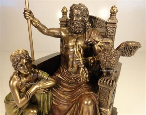 greek mythology statues king zeus god of thunder hera on throne greek mythology