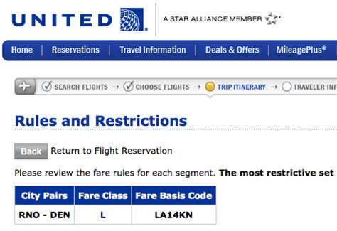 list and description of all united airlines fare classes frequently flying
