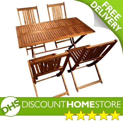 Wood Folding Table And Chairs by Rectangular 4 Seater Garden Folding Table And Chairs Set