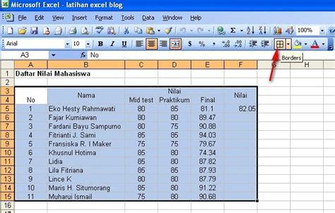membuat background tabel html cara membuat bingkai tabel garis tepi tabel di excel