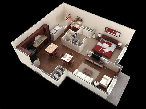 50 One 1 Bedroom Apartment House Plans Architecture One Bedroom Design Layout