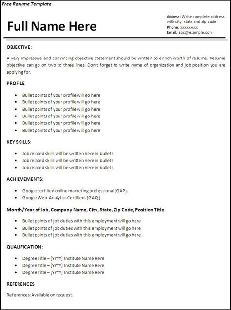 Resume Template Free Word by Resume Template Free Printable Word Templates