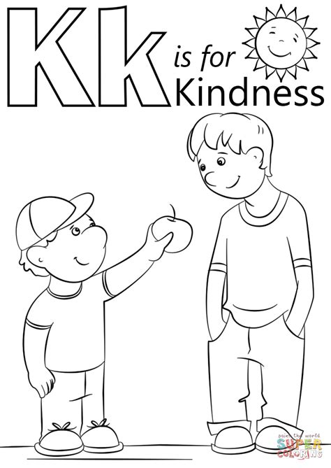 K For Kite Coloring Page At First School Pages