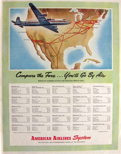1946 american airlines ad airfare chart rates vintage plane boat ads