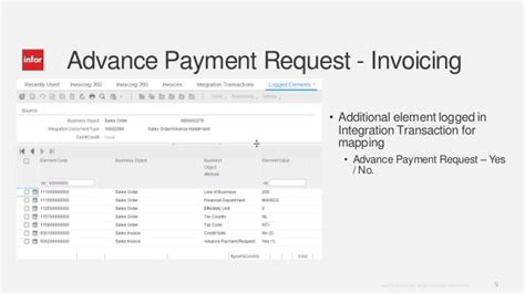 sle invoice for advance payment inforln com erp ln 10 4 advance invoicing enhancements