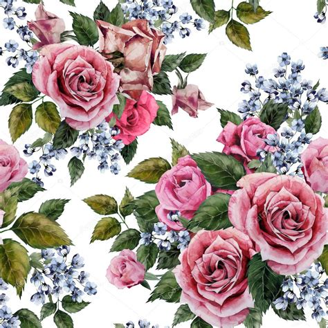 Floral Flowers by Watercolor Roses Floral Pattern Stock Photo 169 Ollallya