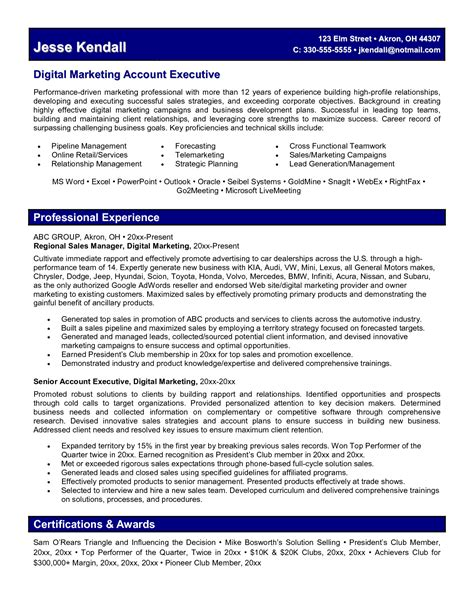 marketing executive sle resume digital marketing resume fotolip rich image and