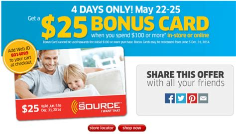 Bonus Gift Cards 2014 - the source canada deals 25 bonus gift card when you spend 100 or more canadian
