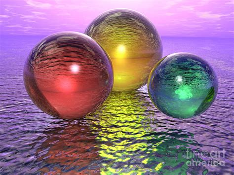 glass orbs on ice lake digital art by ricky schneider