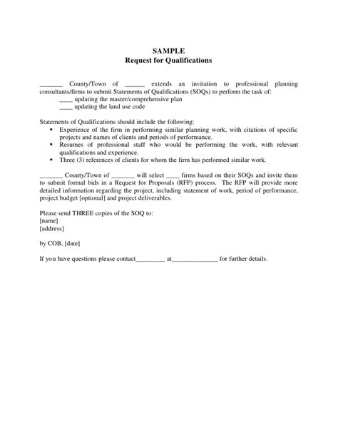 request for qualifications template rfq rfp process