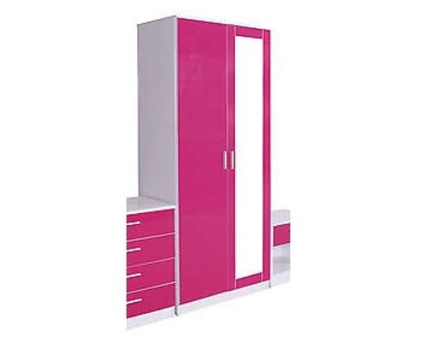 gfw ottawa 2 door wardrobe with mirror in white and pink