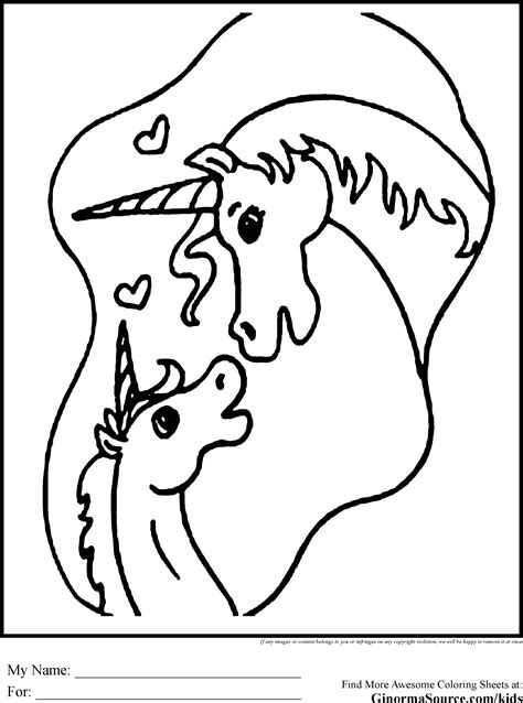 coloring pages of baby unicorns unicorn coloring pages mommy baby randomness kids