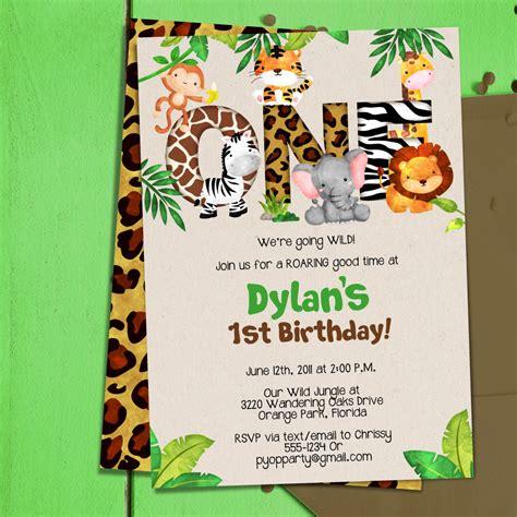 Jungle 1st Birthday Party Invitation Template Jungle Animals Etsy Jungle Animal Invitation Templates