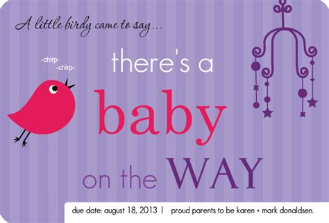 little birdie purple pregnancy announcement template