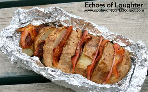 dinner on the boat recipes potato boat dinner with ham cheese bacon in foil packet