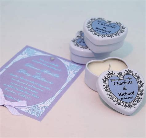 Personalised Wedding Favours by Personalised Scented Candle Wedding Favours By Hearth
