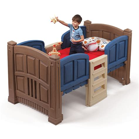 step 2 bunk bed boy s loft storage twin bed kids furniture by step2