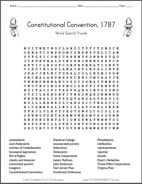 Constitution Search Worksheet Answers by Constitutional Convention Word Search Puzzle