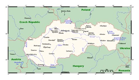 map of with major cities detailed map of slovakia with major cities slovakia