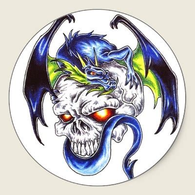 dragon skull tattoo cool blue and skull style sticker tattoos