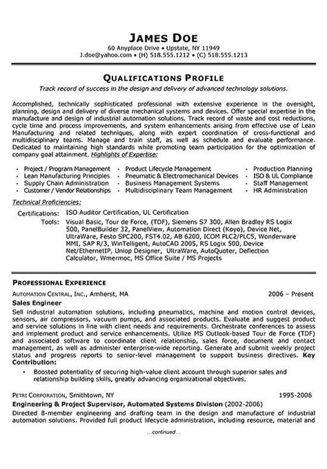 Exle Resume Application Engineer Application Engineering Resume Sales Engineering 28