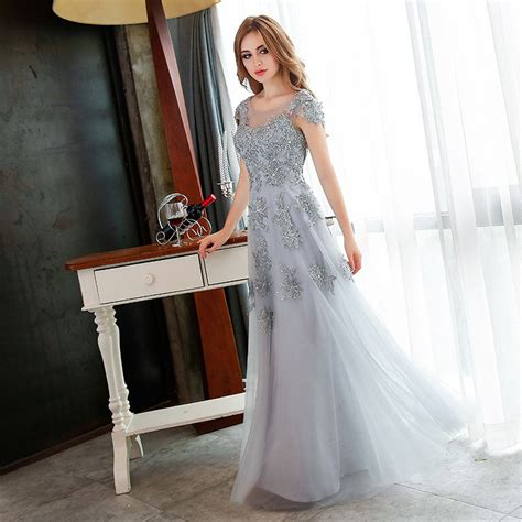 by color cheap prom dresses 2016 mother of bride gown 2016 elegant gray beading lace long evening dresses mother
