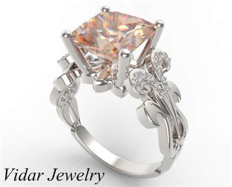 custom white gold princess cut morganite engagement ring