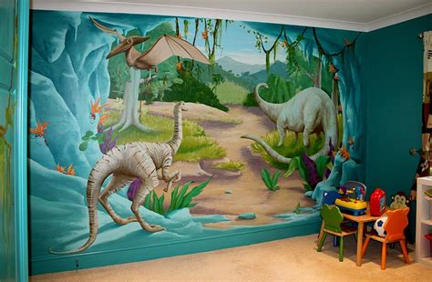 dinosaur wall mural bedrooms with dinosaur themed wall and murals