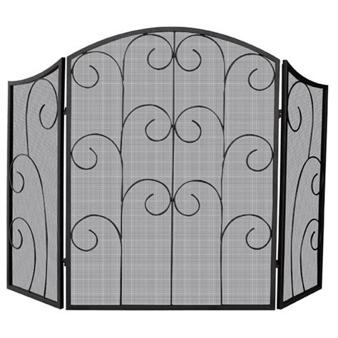 Wrought Iron Fireplace Screens Decorative uniflame 3 panel black wrought iron w decorative scroll