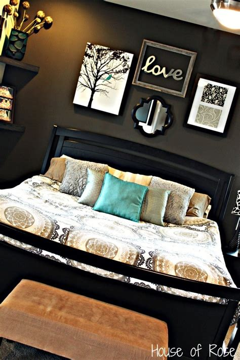 home decor bed master bedroom wall makeover love the colors and set up
