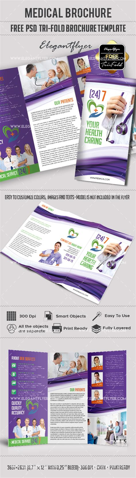 download medical free tri fold psd brochure template