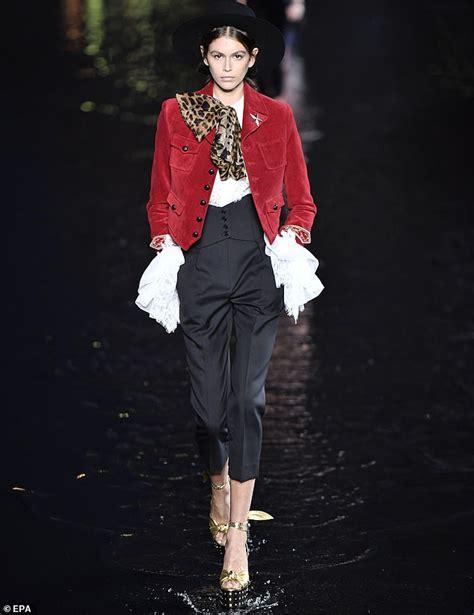 kaia gerber walking the runway yves saint laurent release controversial line of jewellery
