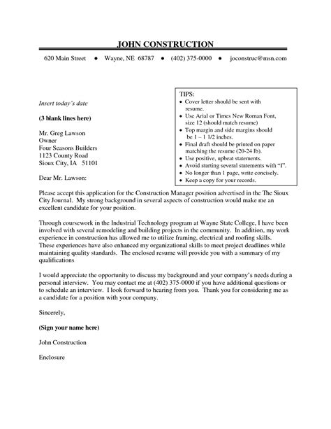 Construction Management Cover Letter Exles by Construction Cover Letter Sle The Best Letter Sle