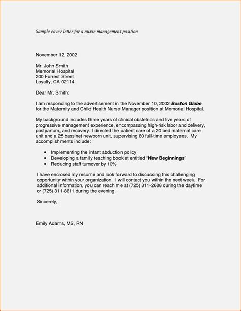 Cover Letter Management Position by Cover Letter For Manager Position Resume Template Cover Letter